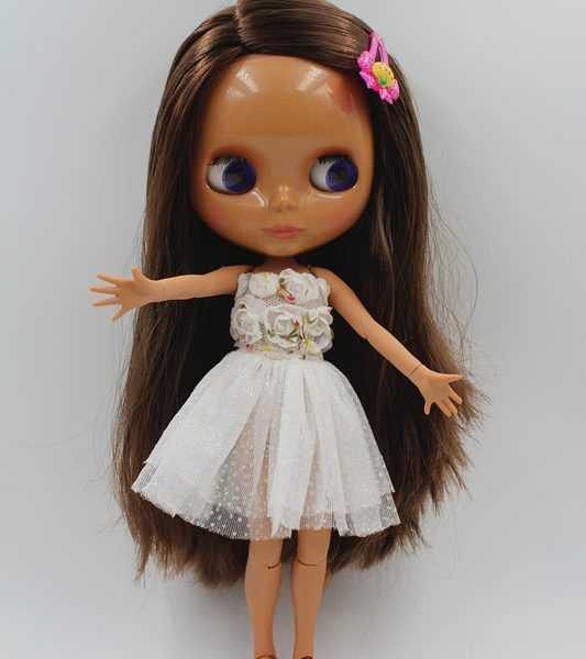 Nela Blythe Doll Brown straight hair Blyth doll black skin nude doll body Posing
