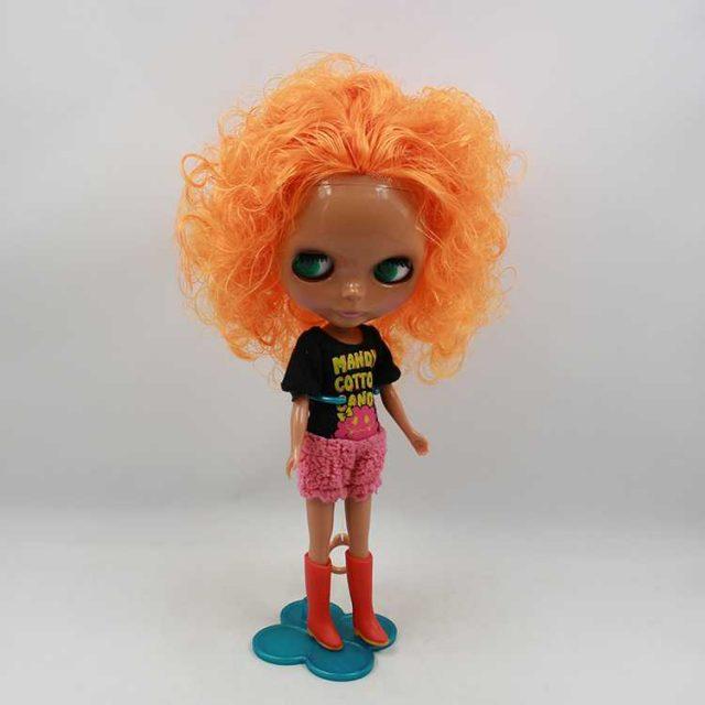 ICY Neo Blythe Dark Skin Doll Orange Hair Regular Body