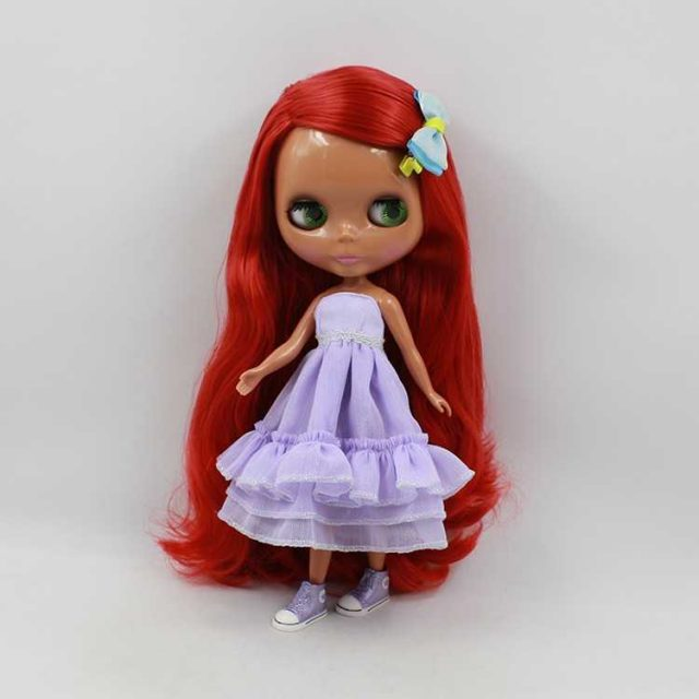 ICY Neo Blythe Doll Red Hair Black Skin Regular Body