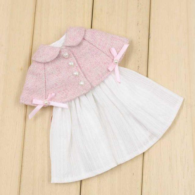Neo Blythe Doll Pink Cloak White Dress
