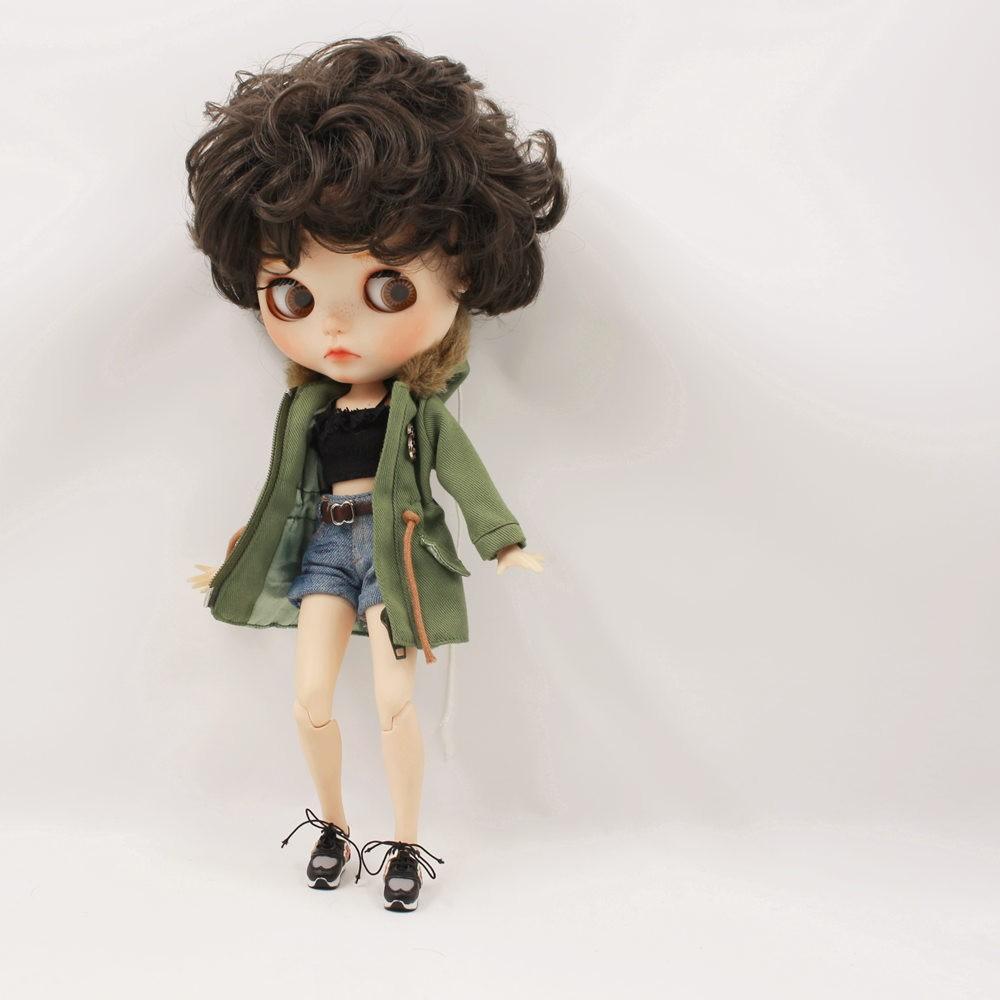 Neo Blythe Doll Denim Shorts Black Lace Bra With Green Army Jacket Neo Blythe Clothes