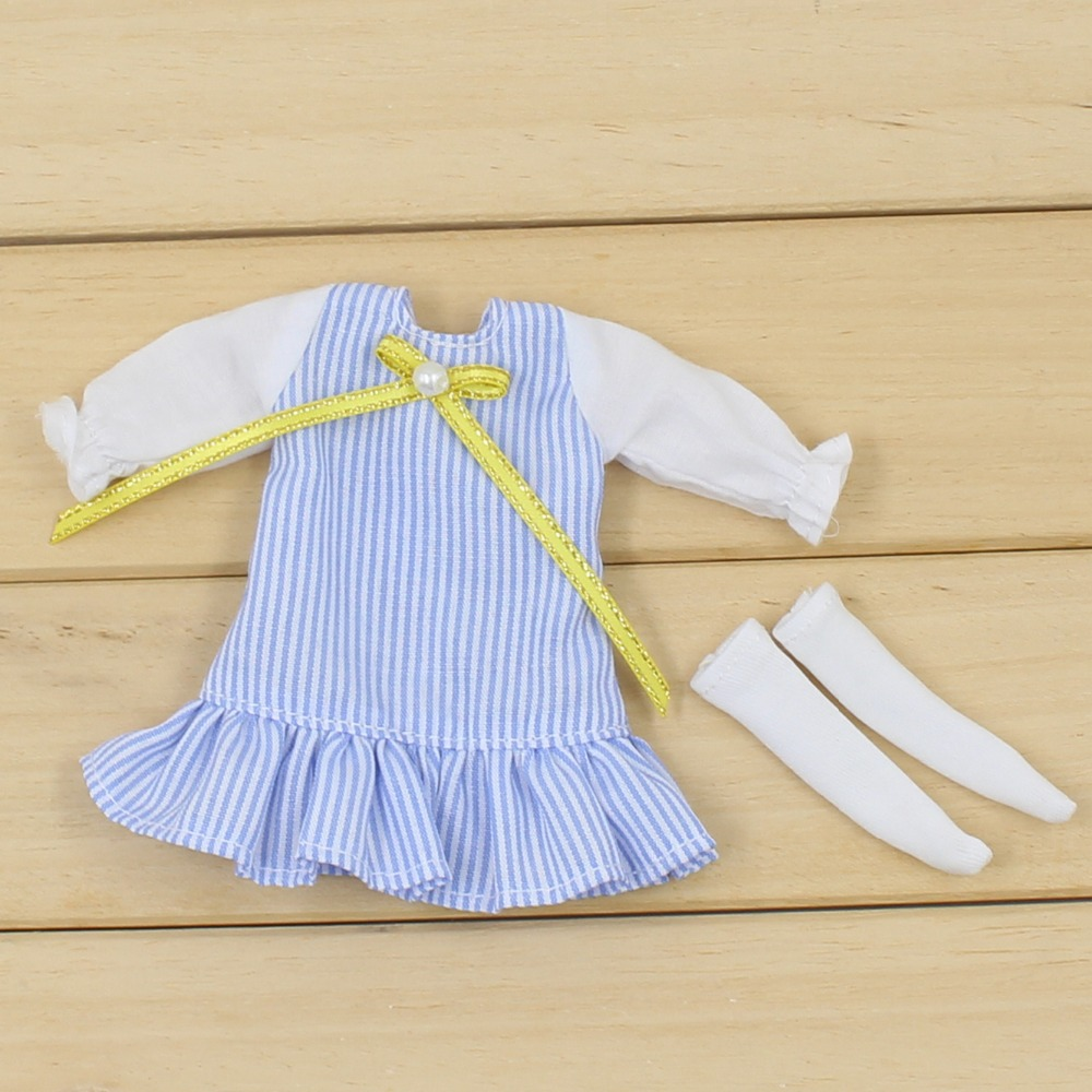 Middie Blythe Doll Blue Dress With Knot Bow Ribbon Stocking Middie Blythe Clothes