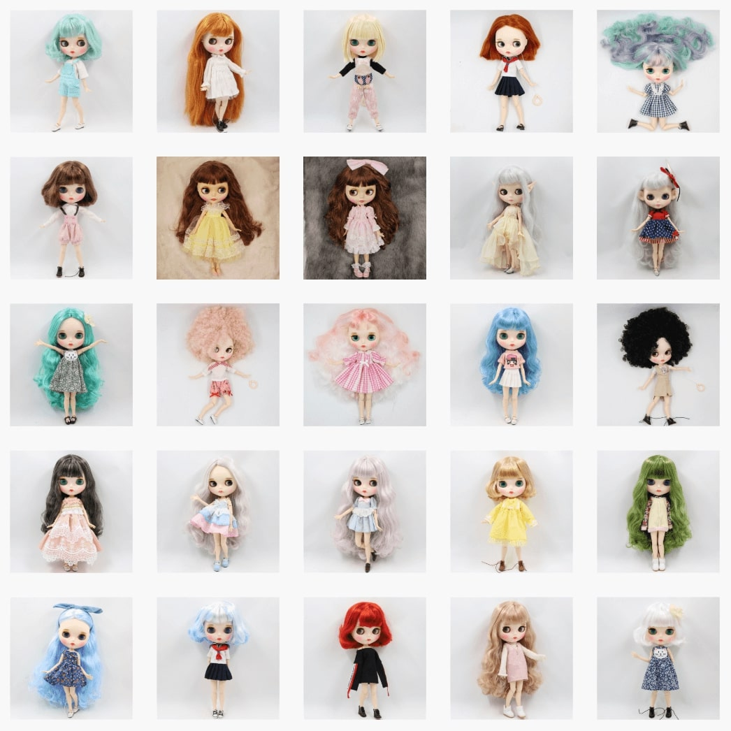 Premium Custom Neo Blythe Doll with Full Outfit 26 Combo Options Bestseller Blythes Blythe Doll Combos Colorful Hair Blythe