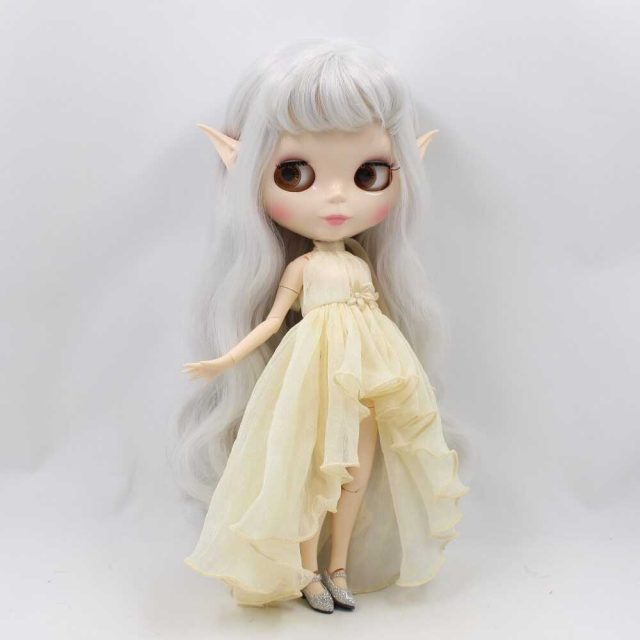 Custom Neo Blythe Doll with Full Outfit Glossy Face Grey Hair