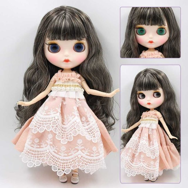 Custom Neo Blythe Doll with Full Outfit Matte Face Black Grey Hair