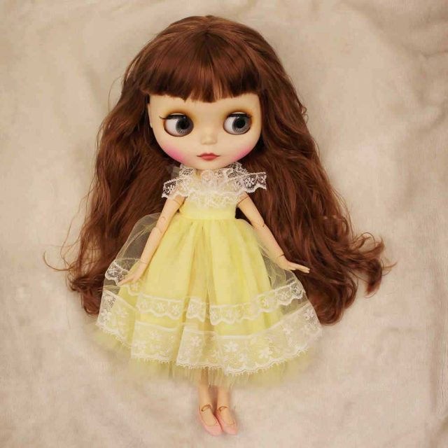 Belinda - Premium Custom Blythe Doll með Full Outfit Cute Face