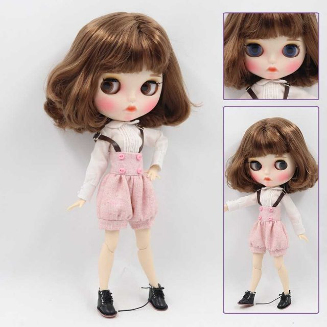 Custom Neo Blythe Doll with Full Outfit Matte Face Brown Hair