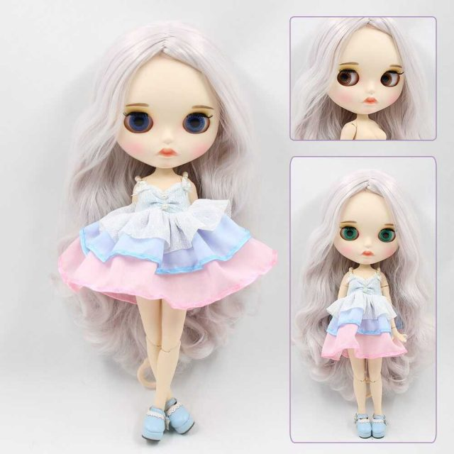 Custom Neo Blythe Doll with Full Outfit Matte Face Grey Hair