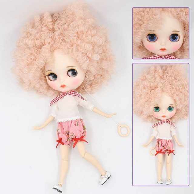 Custom Neo Blythe Doll with Full Outfit Matte Face Pink Hair