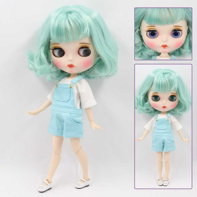 Custom Neo Blythe Doll with Full Outfit Matte Face Teal Hair