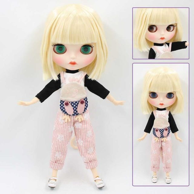 Custom Neo Blythe Doll with Full Outfit Matte Face Yellow Hair