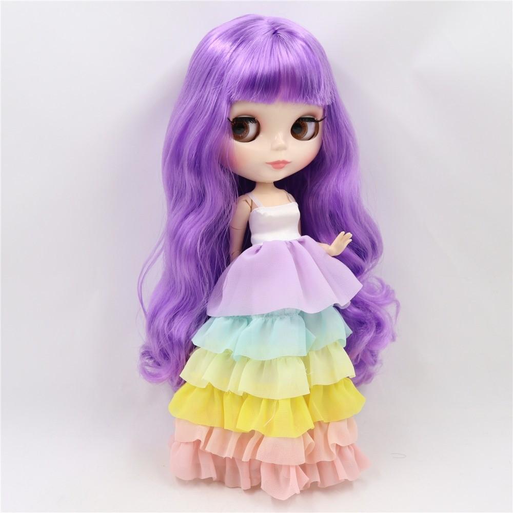 Minnie – Premium Custom Blythe Doll with Clothes Cute Face Purple Hair Blythe