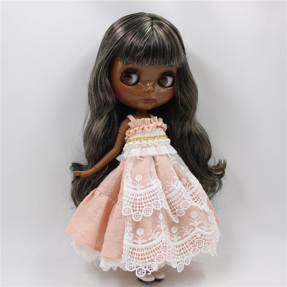 Mona – Premium Custom Blythe Doll with Clothes Cute Face Black Hair Blythe
