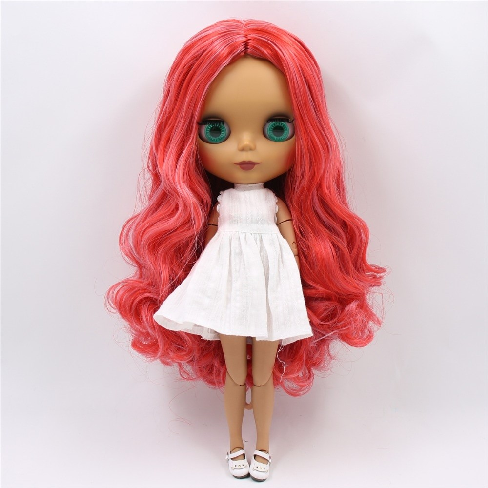 Rose – Premium Custom Blythe Doll with Clothes Cute Face Red Hair Blythe