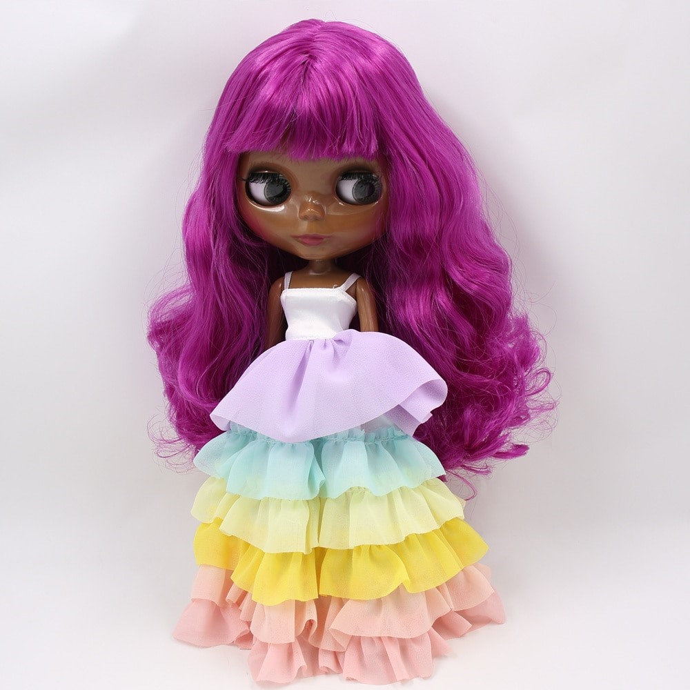 Charlotte – Premium Custom Blythe Doll with Full Outfit Glossy Cute Face Purple Hair Blythe
