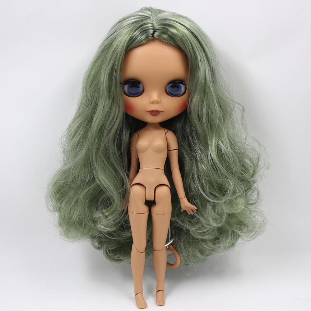 Eleanor– Premium Custom Blythe Doll with Full Outfit Glossy Cute Face Green Hair Blythe