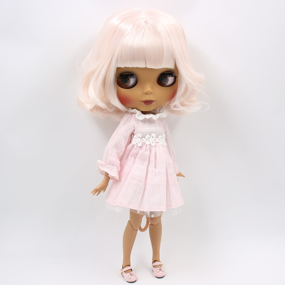 Logan – Premium Custom Blythe Doll with Full Outfit Glossy Cute Face Pink Hair Blythe