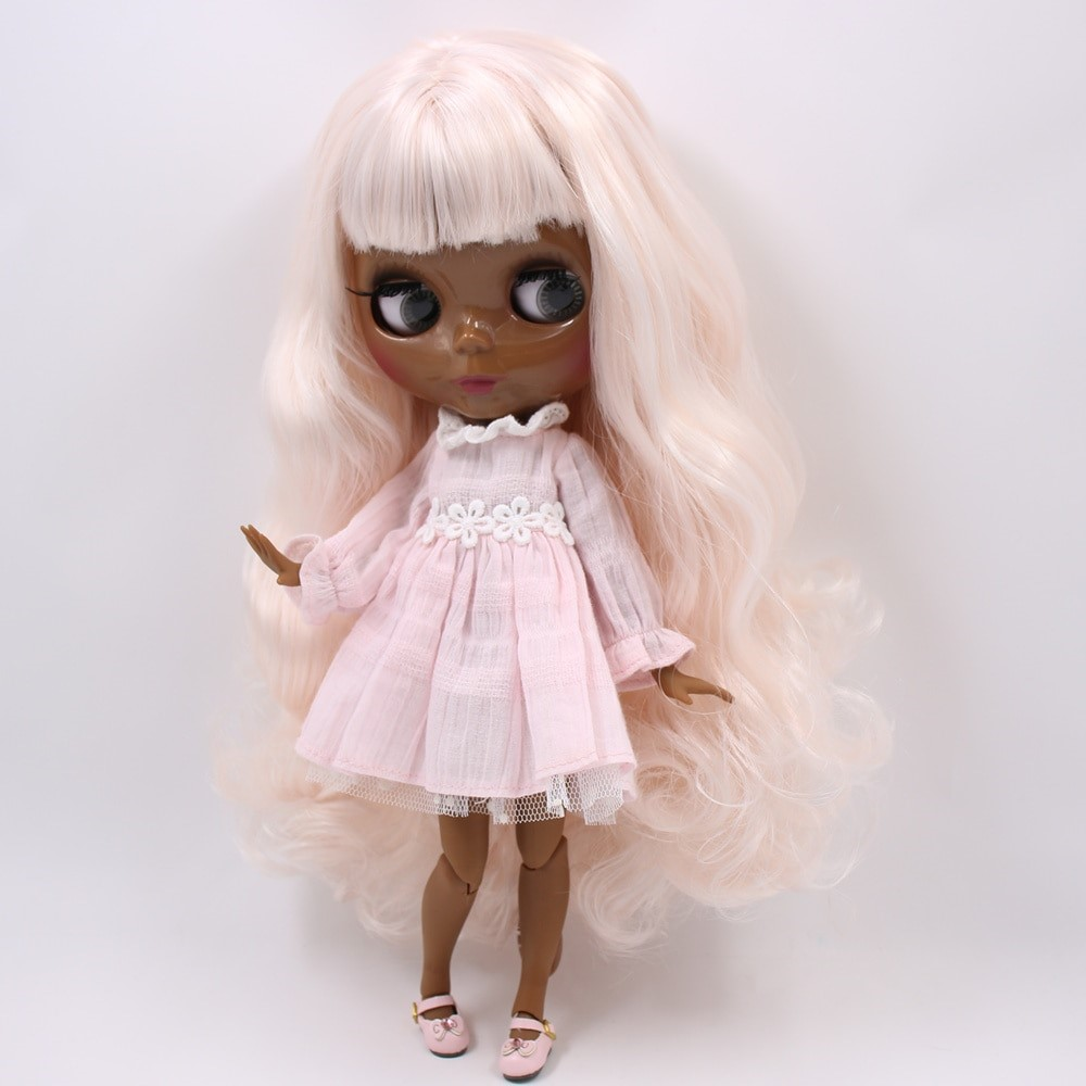 Annie – Premium Custom Blythe Doll with Full Outfit Glossy Cute Face Pink Hair Blythe