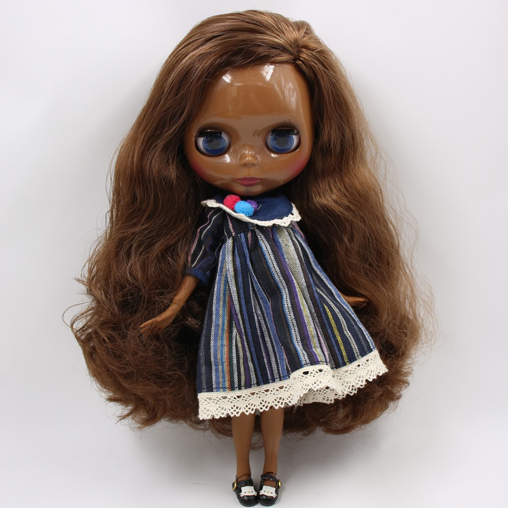 Sage – Premium Custom Blythe Doll with Full Outfit Glossy Cute Face Brown Hair Blythe