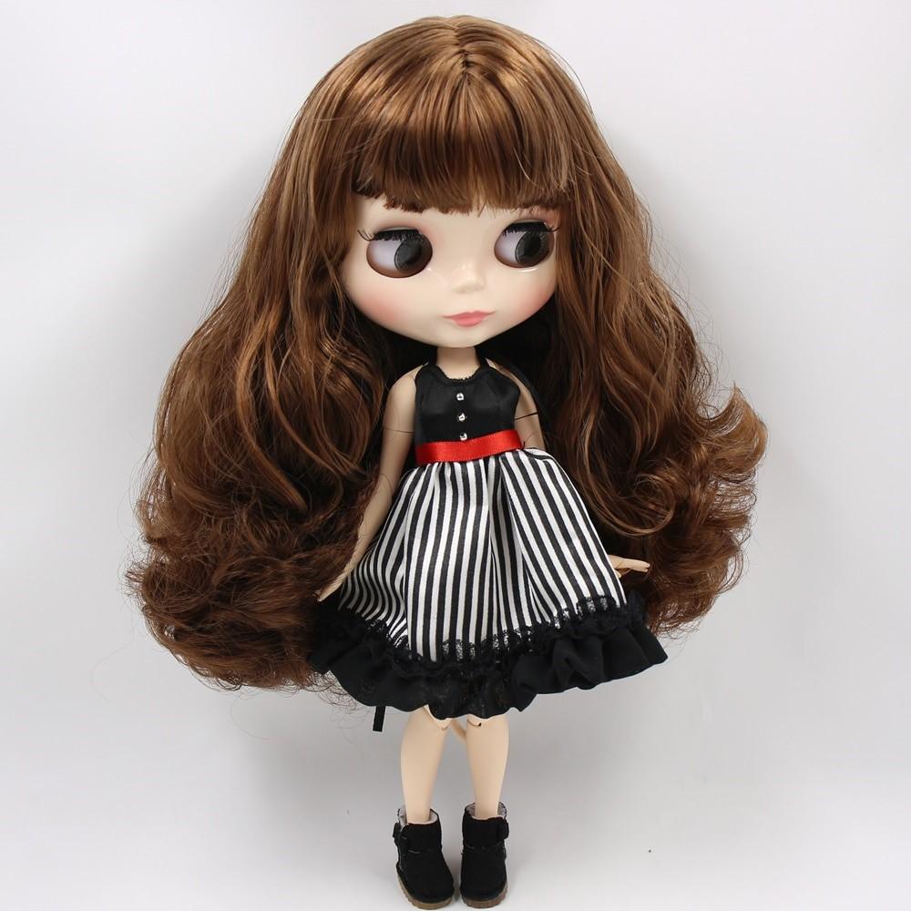 Brynn – Premium Custom Blythe Doll with Full Outfit Glossy Cute Face Brown Hair Blythe
