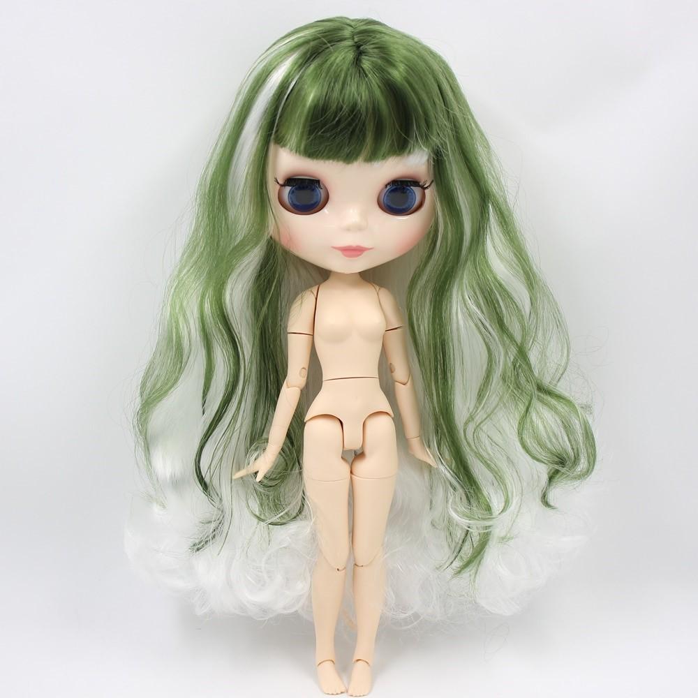 Sarai – Premium Custom Blythe Doll with Full Outfit Glossy Cute Face Green Hair Blythe
