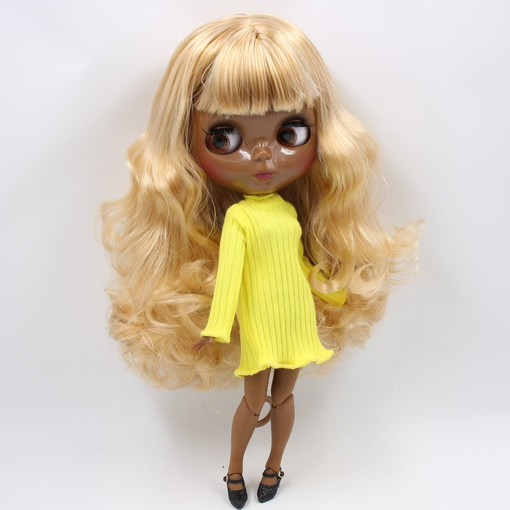 Avery – Premium Custom Blythe Doll with Full Outfit Glossy Cute Face Yellow Hair Blythe