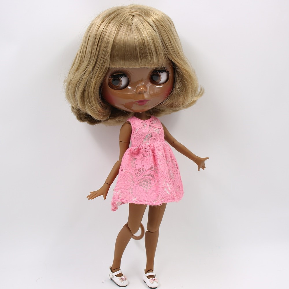 Ella – Premium Custom Blythe Doll with Full Outfit Glossy Cute Face Brown Hair Blythe