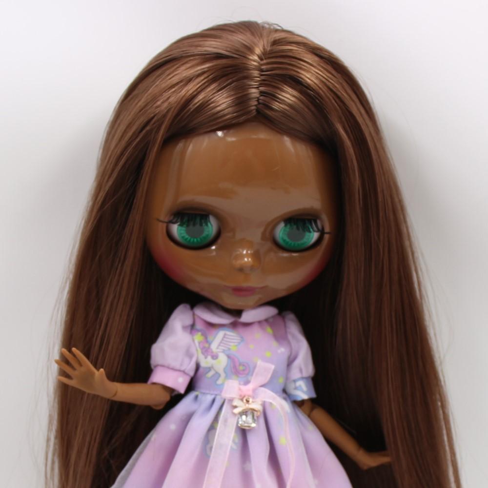 Rosa – Premium Custom Blythe Doll with Clothes Cute Face Brown Hair Blythe