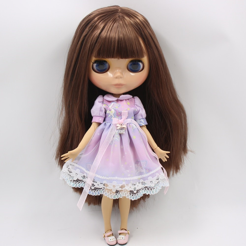 Ivory – Premium Custom Blythe Doll with Clothes Cute Face Brown Hair Blythe