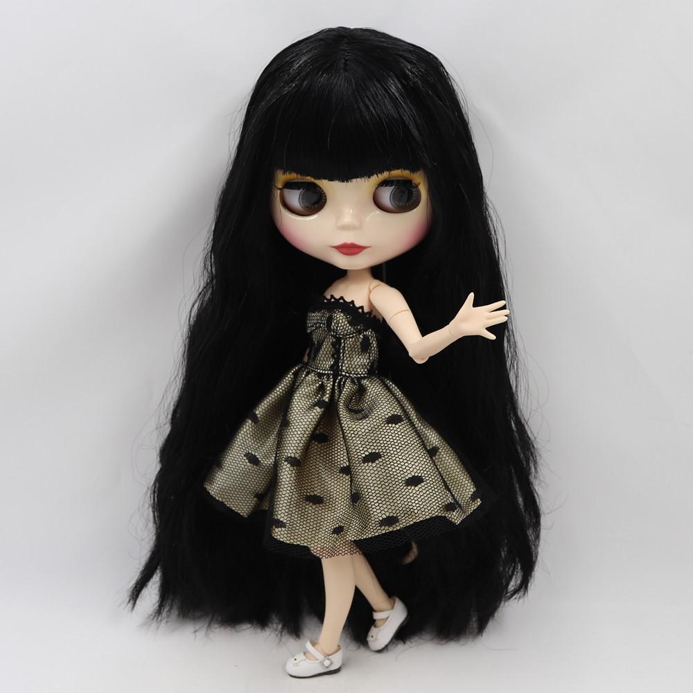 Belinda – Premium Custom Blythe Doll with Full Outfit Glossy Cute Face Black Hair Blythe