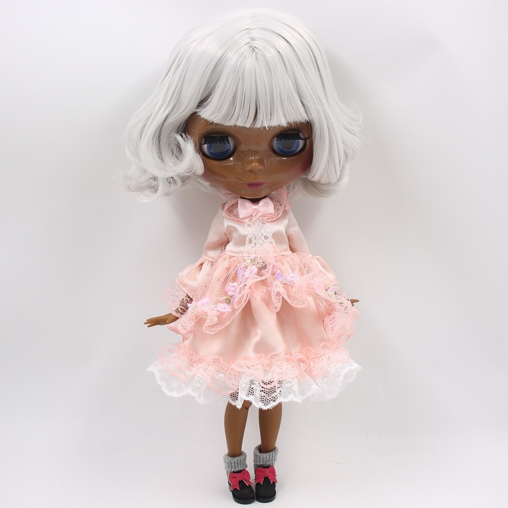 Maddison – Premium Custom Blythe Doll with Full Outfit Pouty Face Grey Hair Blythe