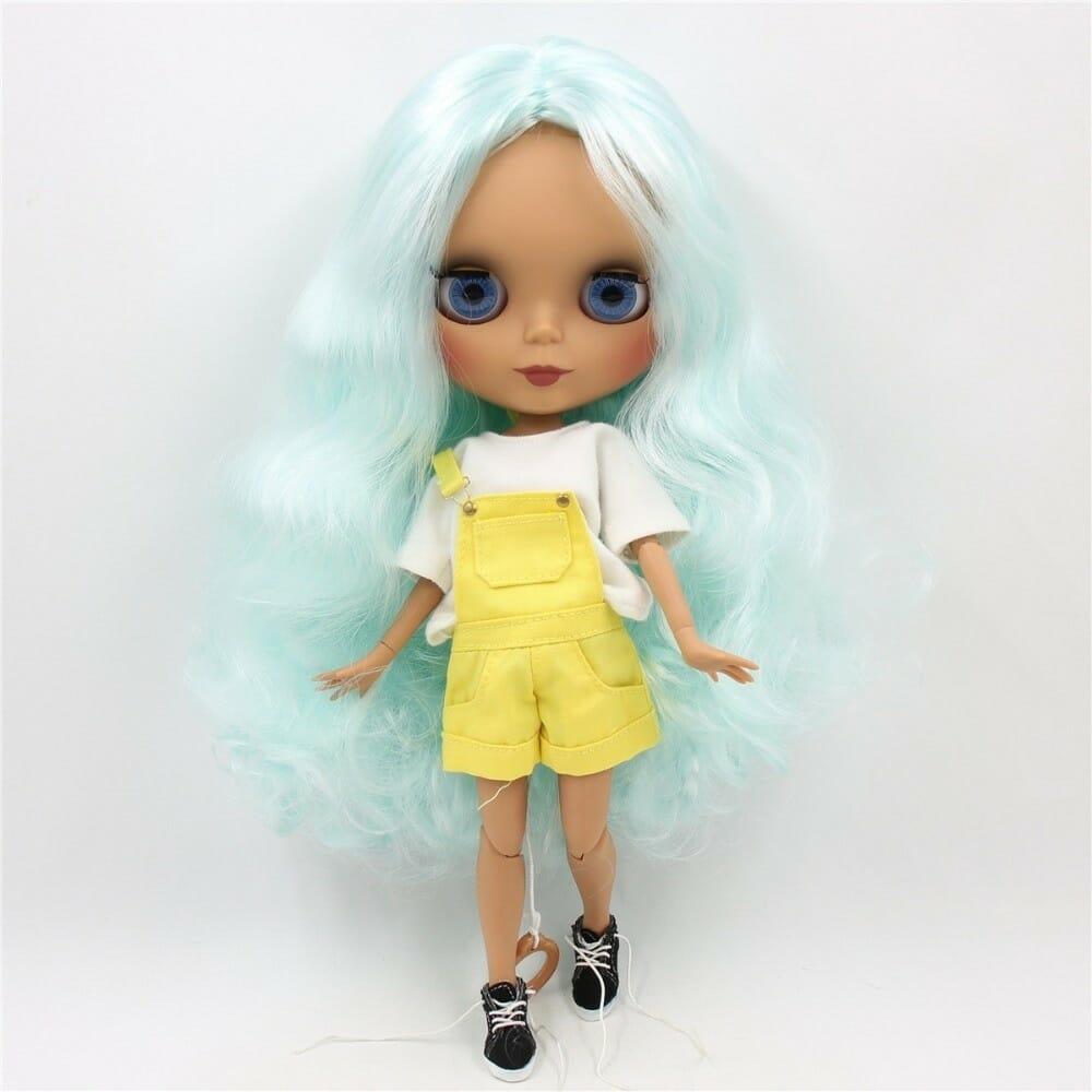Danielle – Premium Custom Blythe Doll with Full Outfit Cute Face Blue Hair Blythe
