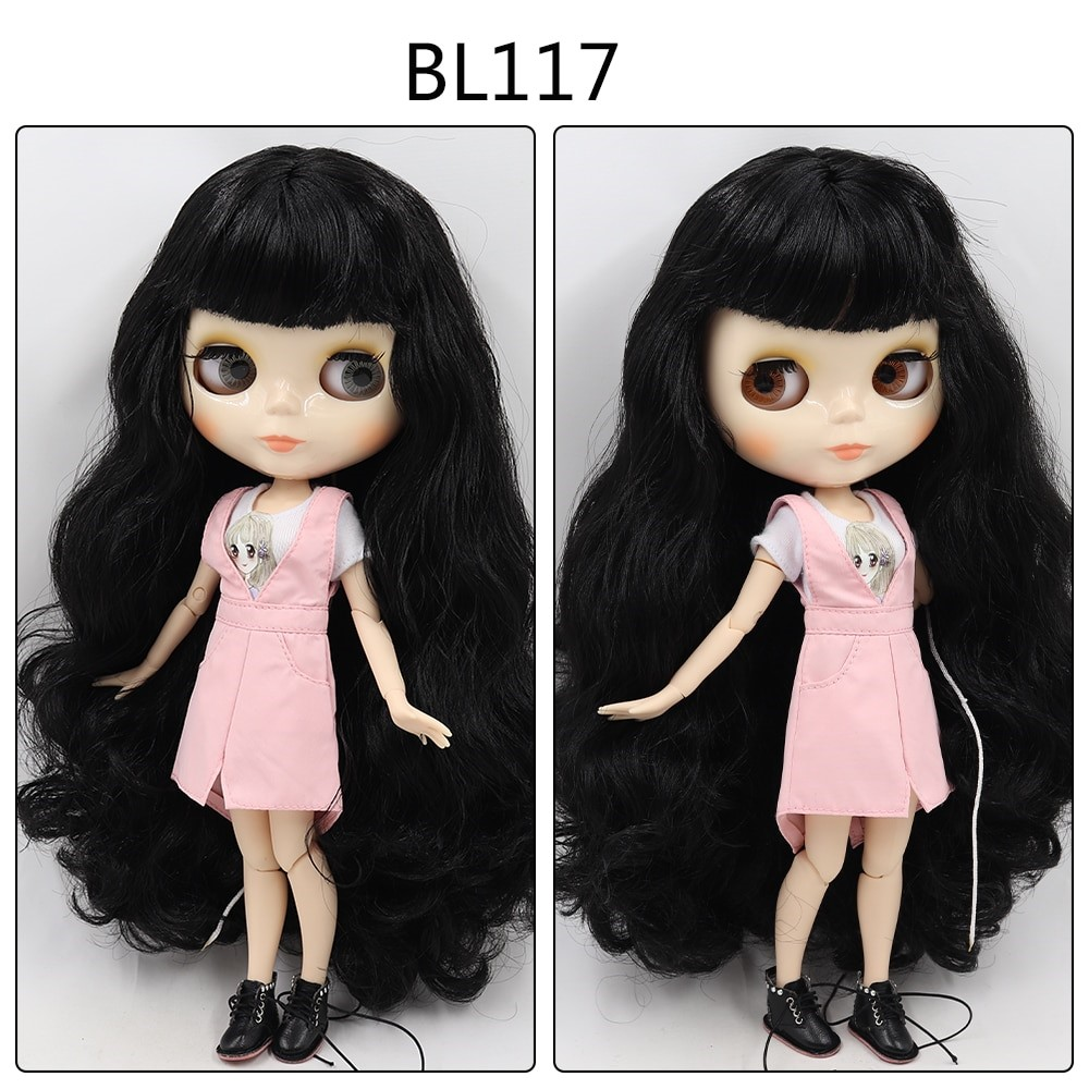 Kathryn – Custom Blythe Doll with Full Outfit Jointed Body Black Hair Blythe Blythe Doll Combos