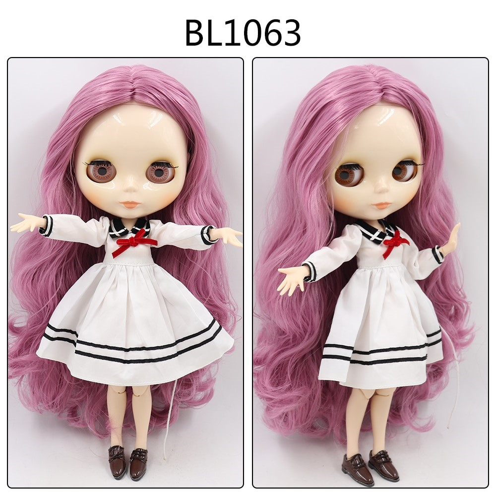 Helena – Custom Blythe Doll with Full Outfit Jointed Body Blythe Doll Combos Purple Hair Blythe