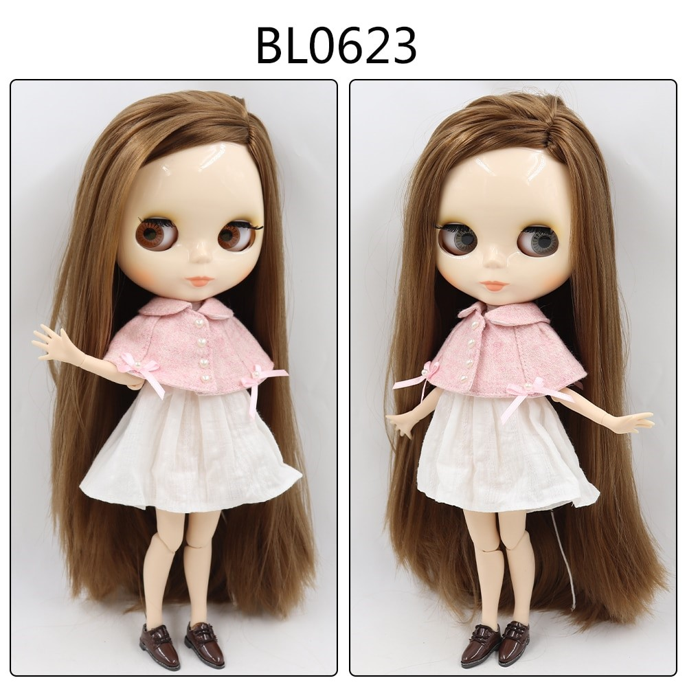 Lainey – Custom Blythe Doll with Full Outfit Jointed Body Blythe Doll Combos Brown Hair Blythe