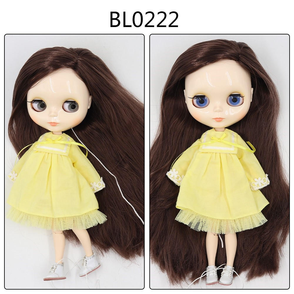 Amber – Custom Blythe Doll with Full Outfit Jointed Body Blythe Doll Combos Brown Hair Blythe