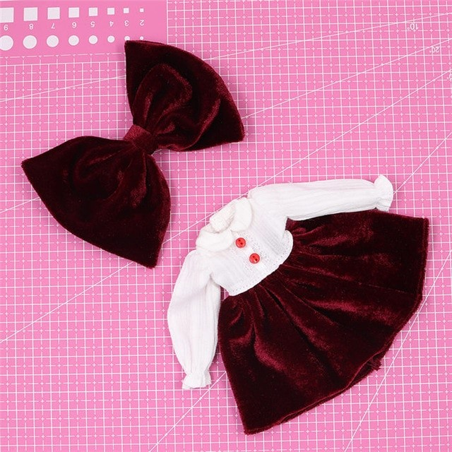 Neo Blythe Doll Maroon White Frock Neo Blythe Doll Clothes