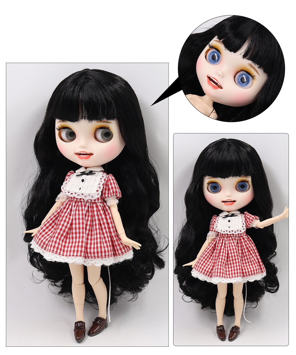 Neo Blythe Doll with Black Hair, White Skin, Matte Face & Jointed Body 1