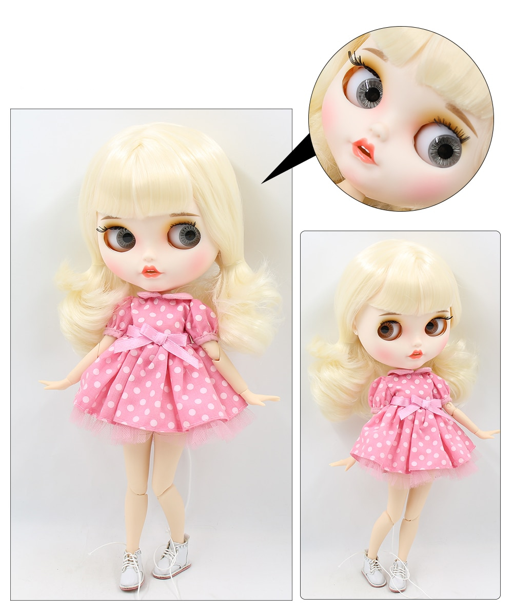 Neo Blythe Doll with Blonde Hair, White Skin, Matte Face & Jointed Body 1