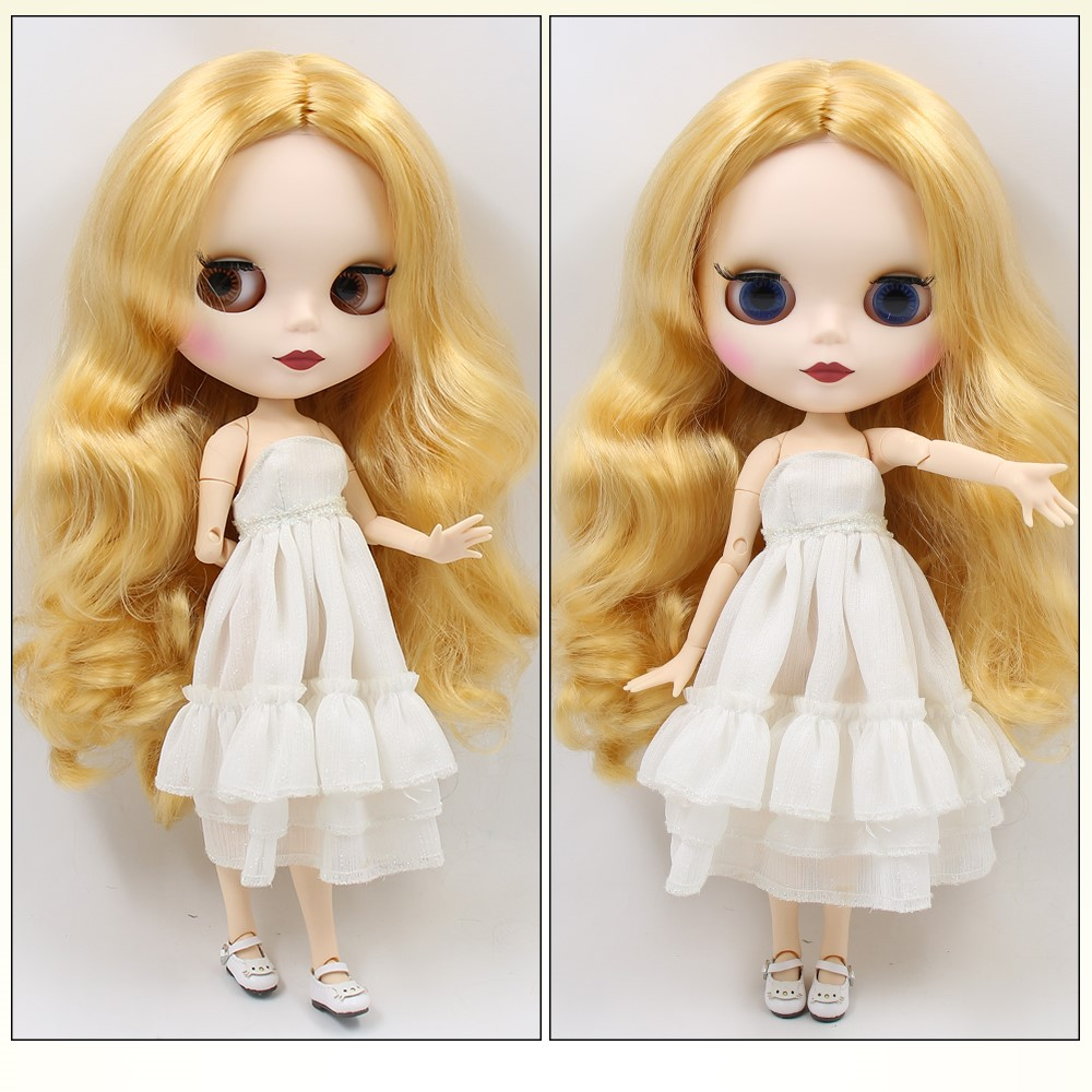 TBL Neo Blythe Doll Blonde Hair Jointed Body Matte Face White Skin Neo Blythe Dolls (Nude) Blonde Hair Blythe