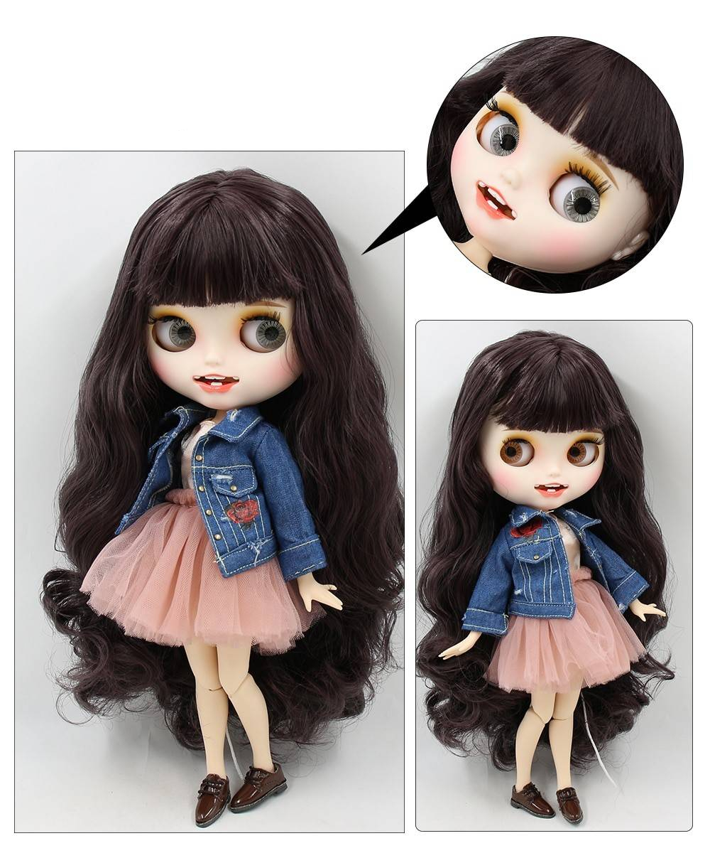 TBL Neo Blythe Doll Brown Hair Jointed Body Brown Hair Blythe