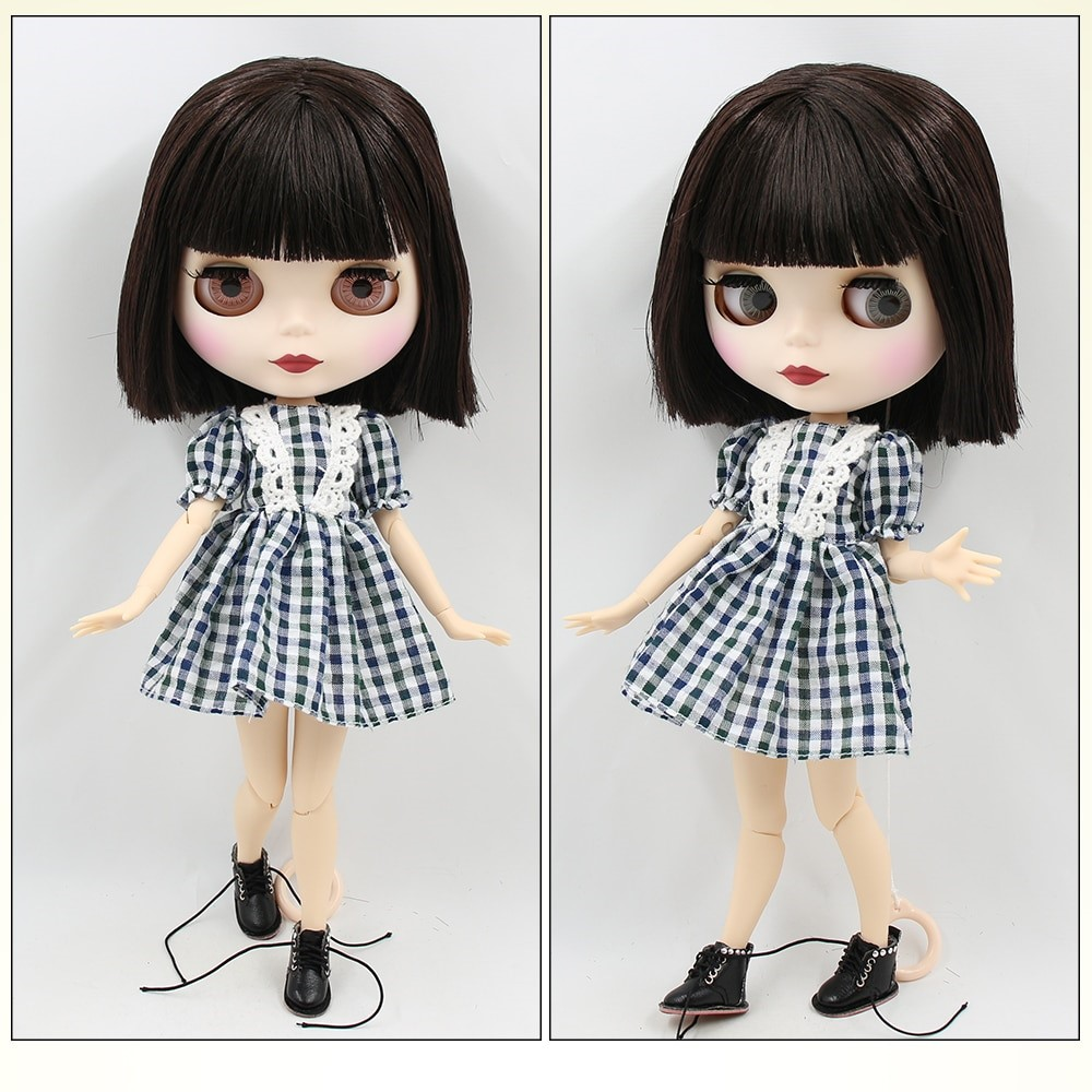 TBL Neo Blythe Doll Brown Hair Jointed Body Matte Face White Skin Brown Hair Blythe