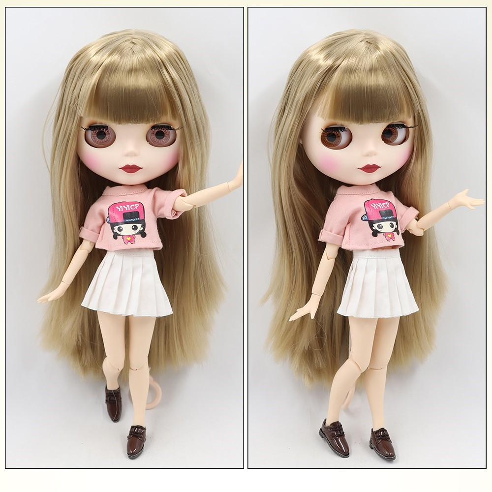 TBL Neo Blythe Doll Brown Hair Jointed Body Matte Face White Skin Brown Hair Blythe Neo Blythe Dolls (Nude)