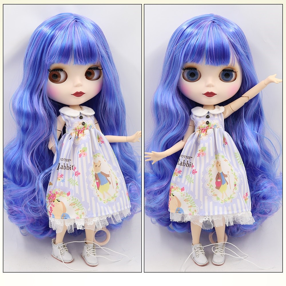 TBL Neo Blythe Doll Colourful Hair Jointed Body Matte Face White Skin Colorful Hair Blythe Neo Blythe Dolls (Nude)