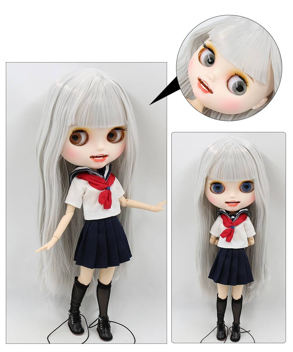 TBL Neo Blythe Doll Grey Hair Jointed Body Grey Hair Blythe