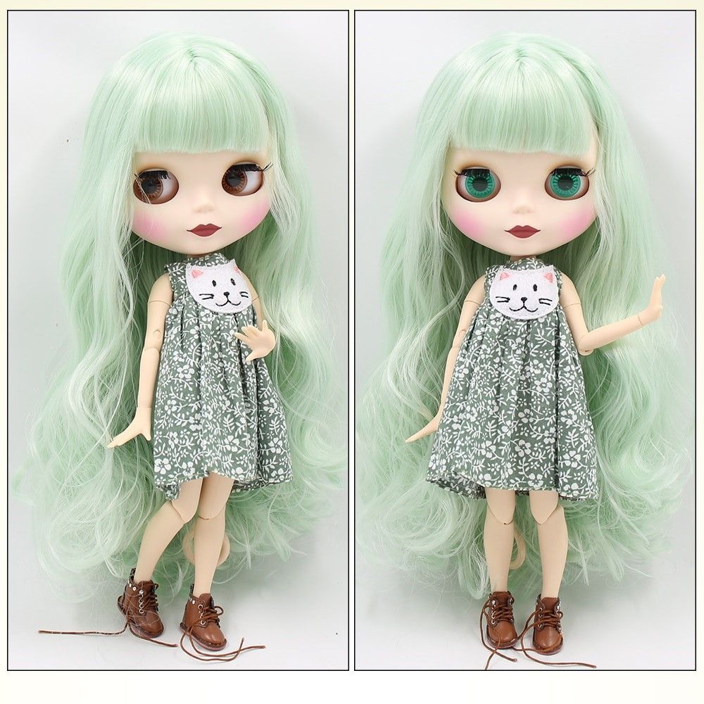TBL Neo Blythe Doll Mint Hair Jointed Body Matte Face White Skin Mint Hair Blythe