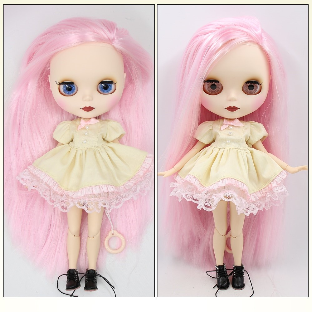 TBL Neo Blythe Doll Pink Hair Jointed Body Matte Face White Skin Pink Hair Blythe