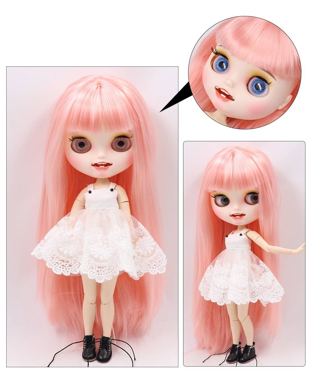 TBL Neo Blythe Doll Pink Hair Jointed Body Pink Hair Blythe