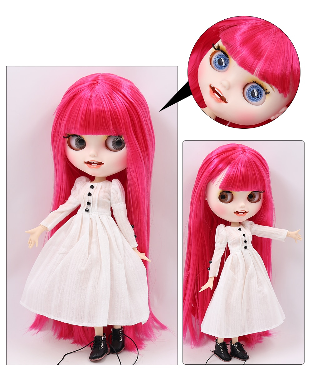Neo Blythe Doll with Pink Hair, White Skin, Matte Face & Jointed Body 1