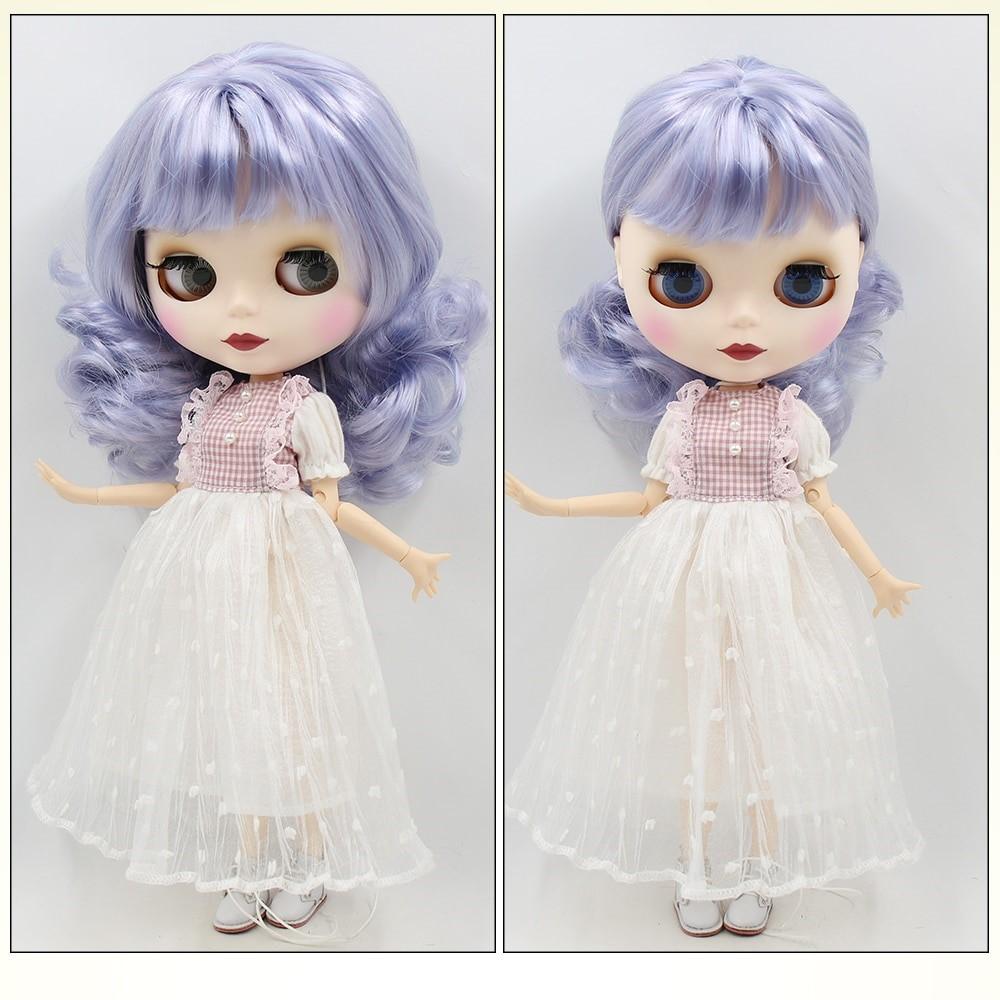 TBL Neo Blythe Doll Purple Hair Jointed Body Matte Face White Skin Purple Hair Blythe